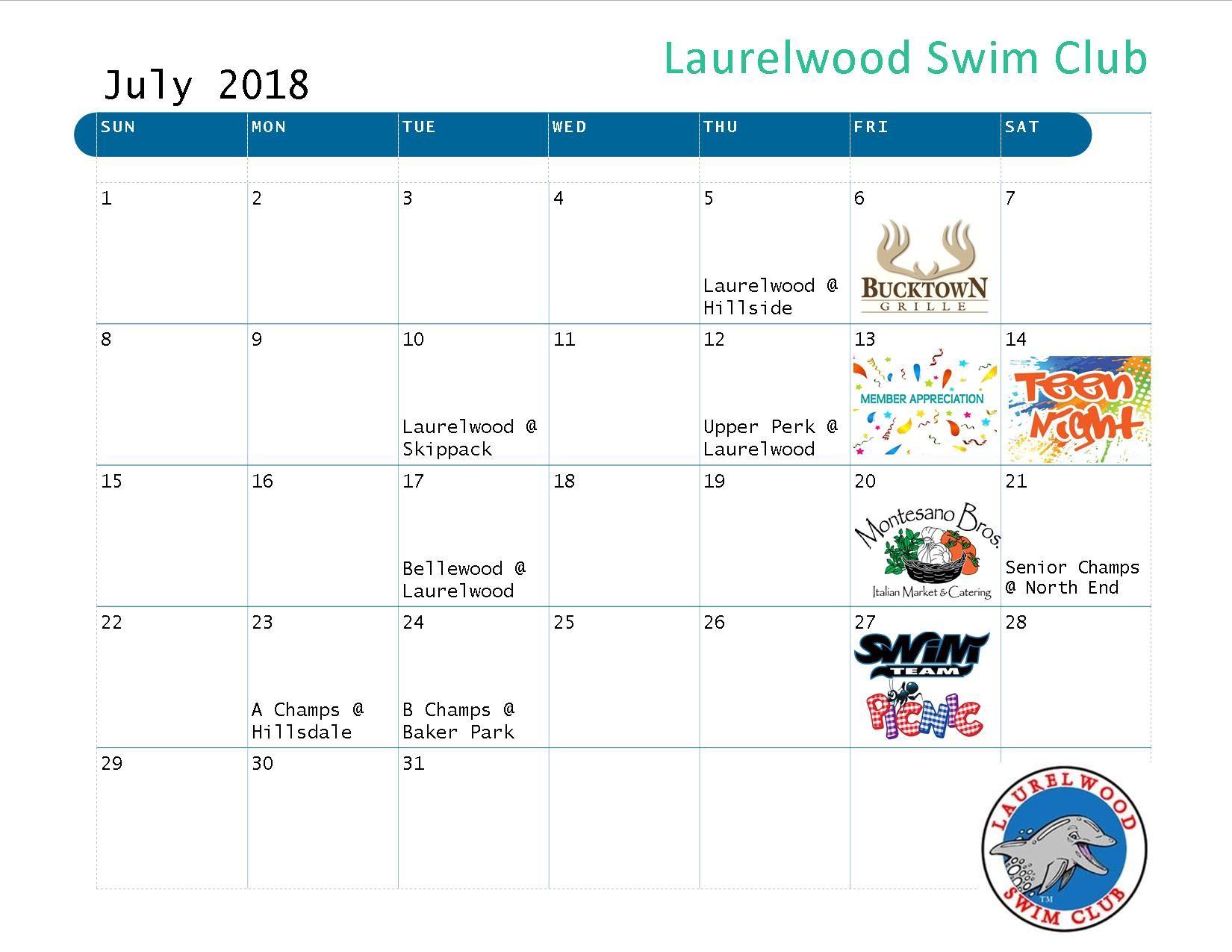 Laurelwood Swimclub 2018 Event Calendars